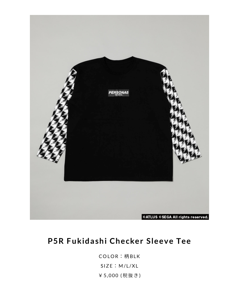 P5R Fukidashi Checker Sleeve Tee